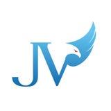 Логотип JV инициала хоука вектора голубой Стоковое Фото