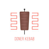 Логотип kebab Doner изолированный на белой предпосылке бесплатная иллюстрация