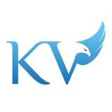 Логотип KV инициала хоука вектора голубой Стоковая Фотография RF