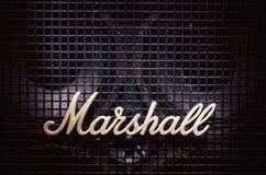Логотип Marshall на басовом дикторе Стоковые Фотографии RF
