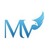 Логотип MV инициала хоука вектора голубой Стоковые Изображения