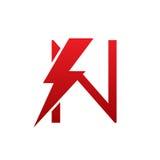 Логотип n письма красного болта вектора электрический Стоковая Фотография RF