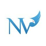 Логотип NV инициала хоука вектора голубой Стоковая Фотография RF