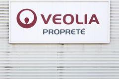 Логотип proprete Veolia на стене Стоковое Изображение