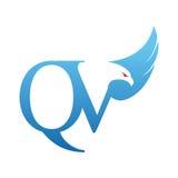 Логотип QV инициала хоука вектора голубой Стоковое Изображение