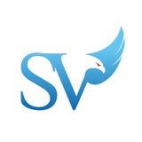 Логотип SV инициала хоука вектора голубой Стоковое фото RF
