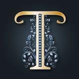 Логотип t письма вектор ABC Золотой и серебряный алфавит Свадьбы, приглашения, иллюстрация штока