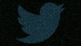 Логотип Twitter сделанный проблескивая шестнадцатиричных символов на экране компьютера Редакционный перевод 3D видеоматериал