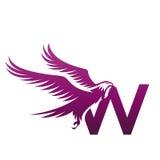 Логотип w инициала хоука вектора фиолетовый храбрый стоковые изображения
