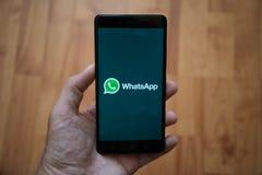Логотип Whatsapp на экране smartphone Стоковое фото RF