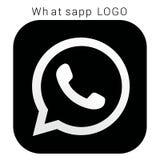 Логотип WhatsApp с файлом Ai вектора Чернота Squred & белое иллюстрация штока