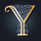 Логотип y письма вектор ABC Золотой алфавит на темной предпосылке Грациозно heraldic символ иллюстрация вектора