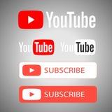 Логотип Youtube и подписаться кнопка иллюстрация вектора