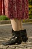 лодыжка boots женский носить Стоковые Изображения