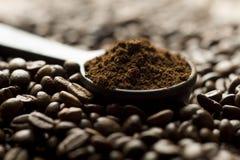 ложка земли кофе фасолей Стоковая Фотография RF