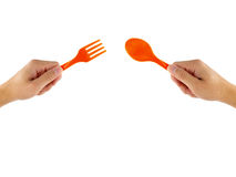 ложка и вилка в руке Стоковая Фотография