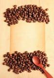 ложка кофе фасолей старая бумажная Стоковые Фото