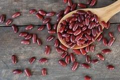 Ложка красных фасолей на деревянной предпосылке Стоковая Фотография RF