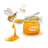 Ложка меда и пчел на белой предпосылке Стоковые Изображения