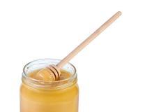 ложка опарника меда деревянная Стоковая Фотография RF