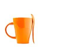 ложка померанца чашки Стоковое Изображение