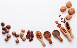 Ложка различных бобов и различных видов чокнутого ker грецких орехов Стоковое Изображение