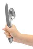 ложка руки вилки Стоковое Изображение RF