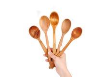 ложка руки установленная деревянная Стоковая Фотография