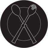 ложка силуэта plateful вилки Стоковая Фотография