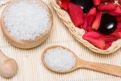 ложка соли для принятия ванны Стоковое Фото