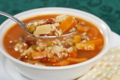 ложка супа макроса говядины ячменя Стоковое фото RF