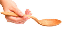 ложка удерживания руки деревянная Стоковое фото RF