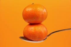 ложка 2 мандарина Стоковые Изображения