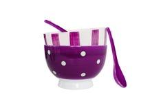 ложки шаров предпосылки пурпуровые белые Стоковые Фото