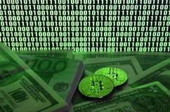 2 лож bitcoins на куче долларовых банкнот на предпосылке монитора показывая бинарный код ярких ых-зелен нулей и одного u Стоковое Изображение RF