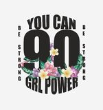 Лозунг силы девушки с иллюстрацией флористического дизайна иллюстрация вектора