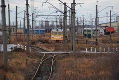 Локомотивное депо юговосточной железной дороги России Стоковое фото RF