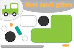 Локомотив в стиле мультфильма, игра образования для развития детей дошкольного возраста, ножницы пользы и клей для создания иллюстрация вектора