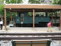 Локомотив пара узкой колеи на музее Гонконга железнодорожном стоковое фото rf