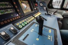 Локомотив EP-2 кабины ` s приборной панели современный высокоскоростной электрический Стоковые Изображения