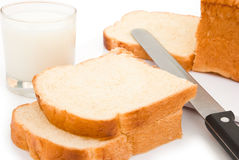 ломтики молока хлеба стоковое фото