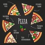 Ломтики пиццы Меню пиццерии классн классного Красочные значки куска пиццы с комплектом вектора текста Стоковые Изображения RF