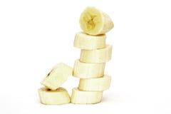 ломтики сложенные бананом стоковое изображение