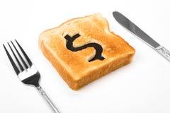 ломтик знака доллара хлеба Стоковое Изображение RF