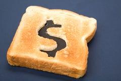 ломтик знака доллара хлеба Стоковая Фотография RF