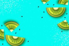 Ломтик кивиа Взгляд сверху Киви и лето Starfruit супер в стиле отрезка бумаги Куски Origami сочные зрелые зеленые Здорово бесплатная иллюстрация