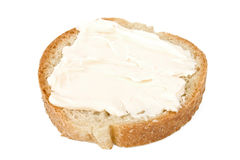 ломтик сливк сыра хлеба Стоковое Изображение