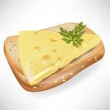 ломтик сыра хлеба бесплатная иллюстрация