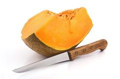 ломтик тыквы ножа Стоковые Фото