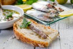 ломтик хлеба камсы Стоковая Фотография RF